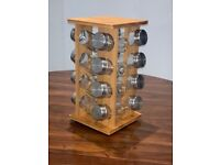 Rotating Spice Rack Wooden with Glass Jars