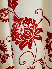 Damask Red pair of fully lined curtains with tie
