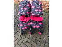 Cosatto double pushchair buggy pink flamingos