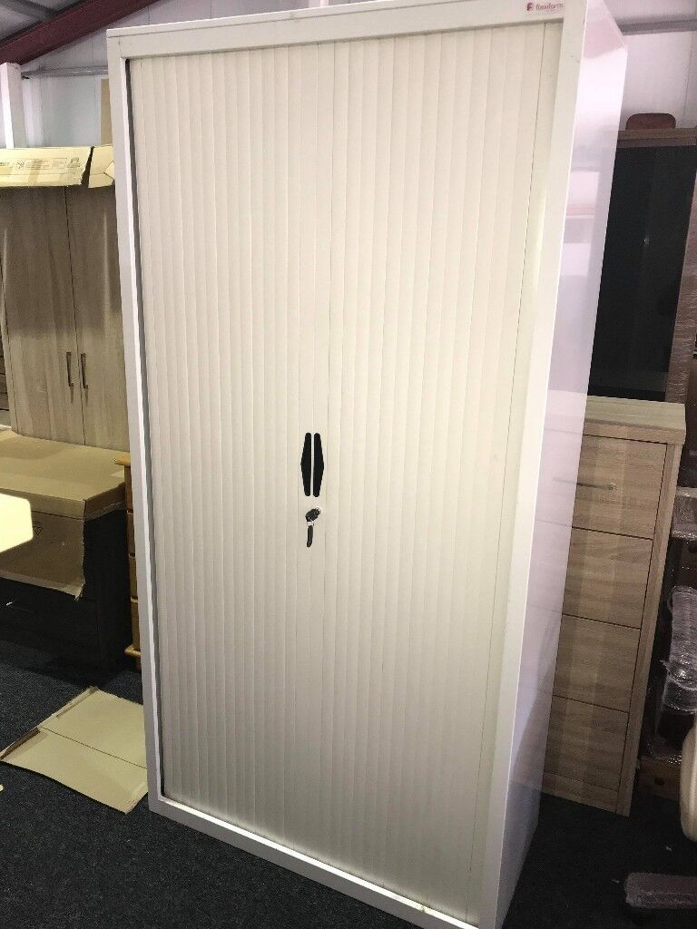 2nd Hand Tambour Office Storage Units With Sliding Doors And Shelves