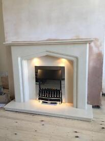 """Marble fireplace 48"""" with lights"""