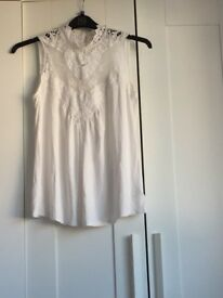 Victorian style white top size M