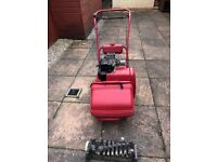 Atco Qualcast cylinder mower with scarifier attachment