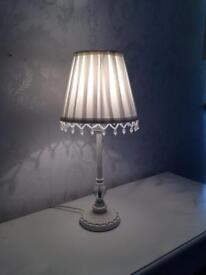 Pair of white pleated shade French style lamps