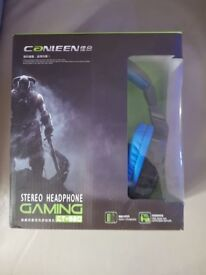 Gaming headphones with jack lead colour blue