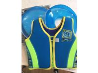 Two blue toilet seat trainers and boys zoggs swim jacket age 2-3 £10