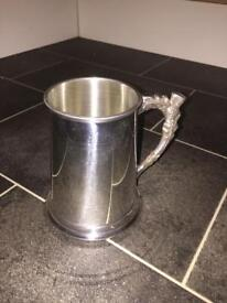 Silver drinking Tankard with distinctive thistle handle