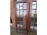 3 hard wood doors with bevelled glass