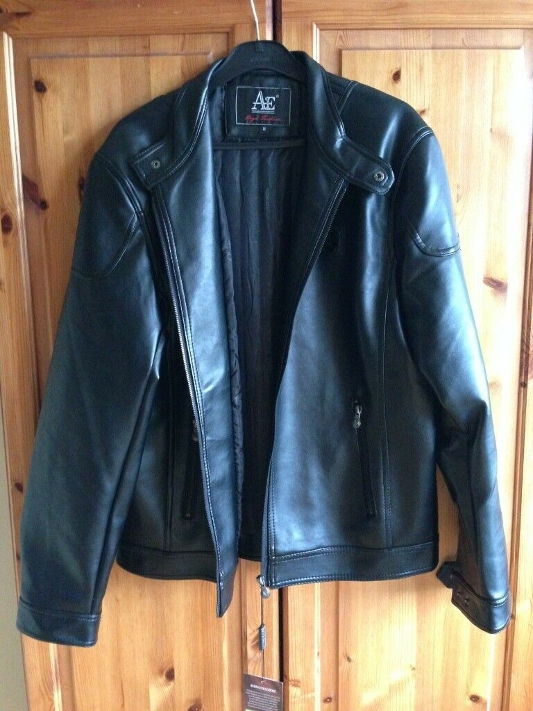 62927a804 Men's Black Faux Leather Jacket by Andrea Ermanni (Size Medium) *NEW*