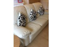 Cream Leather 3 Seater Sofa and Single Chair