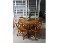 Solid pine Table & 4 chairs. GOOD CONDITION