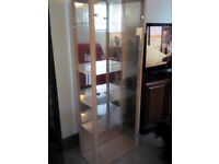 Pine-coloured Glass Display Cabinet