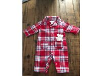 Little White Company Baby Boy Check Teddy Suit (0-3 months)