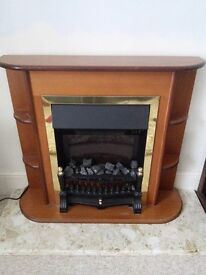 Electric fire with wooden mantle/ shelf and marble hearth