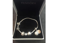 Pandora Bracelet with 5 Charms Boxed