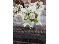 Foam bridal bouquet and three bridesmaids posies in excellent condition
