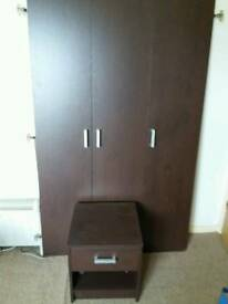 3 door wardrobe and bedside table