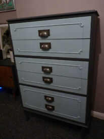 Upcycled painted vintage wooden chest of drawers with cup handles