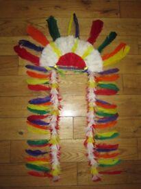 Western, Wild West, Indian chief War Bonnet Head Dress Fancy Party Theme Novelty Item Headdress