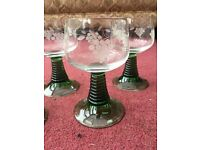 6x German Rhein Roemer Wine Glasses