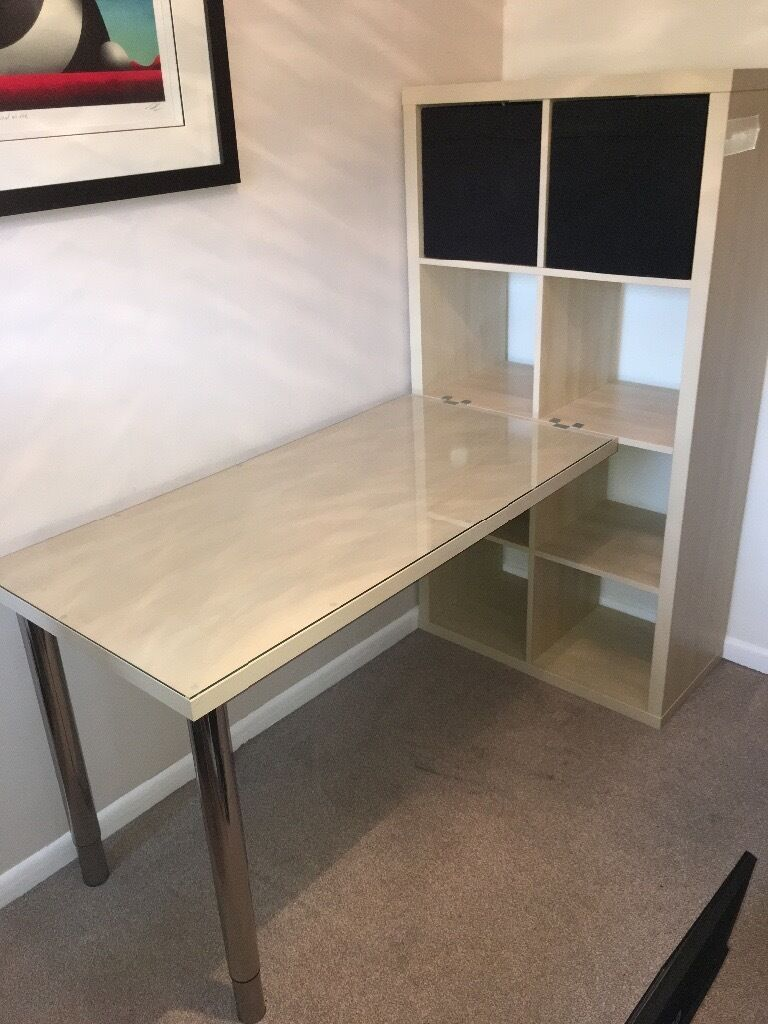 Ikea Kallax Office Desk Combination Birch Effect In Guildford  # Bureau Kallax