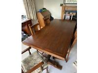Old Charm Dark Oak Traditional Dining Room Table & Chairs