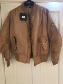 Brand new light brown womens bomber jacket XS
