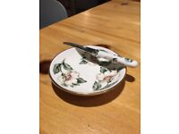 fine bone china butter dish with matching butter knife