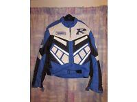 Yamaha 'R' textile motorcycle jacket in Blue/White/Black. Small/Medium
