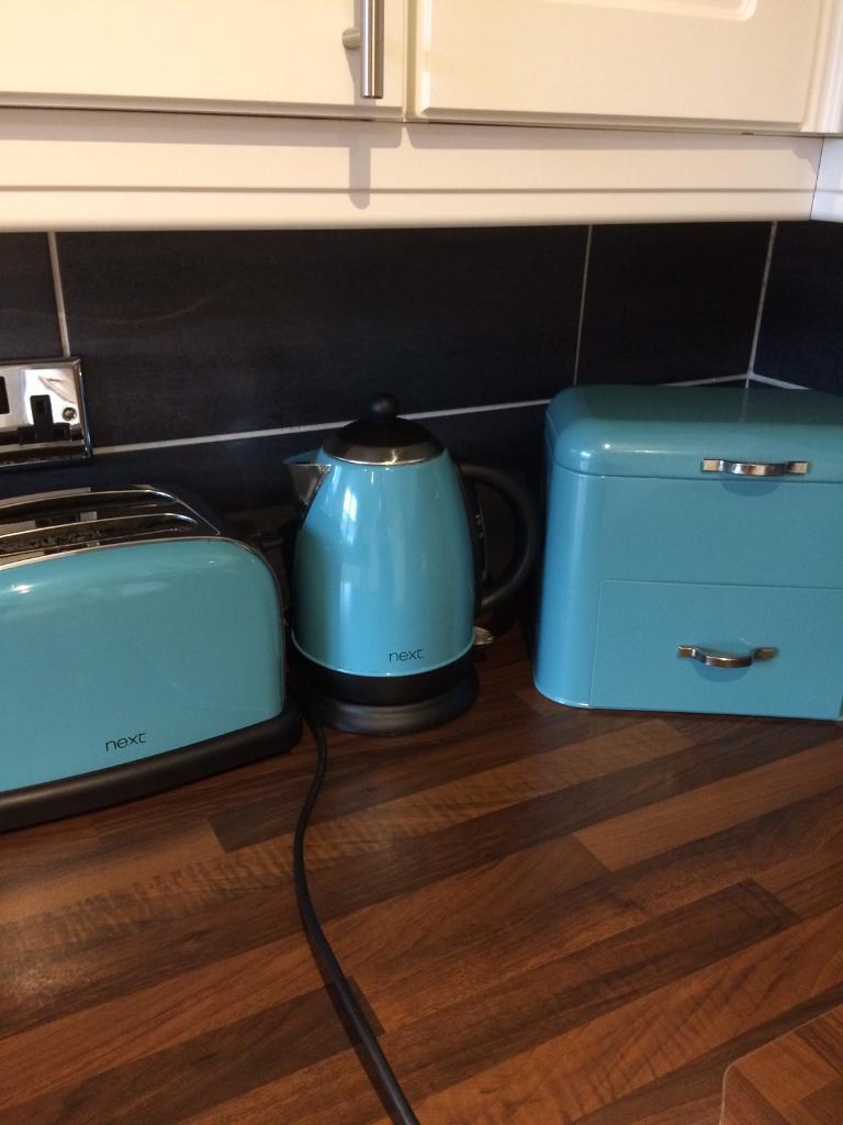 Teal kitchen set. Kettle toaster bread bin soap and sponge holder ...