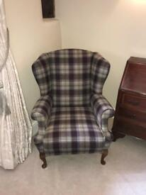 Checked wingback armchair