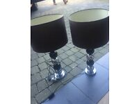Black and silver lamps matching pair
