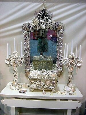 Grotto Shell ( Huge Designer Grotto Shell and Coral Encrusted Baroque Distressed Mirror)