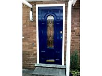 Wooden front door. Painted royal blue outside and white inside. Includes door furniture.