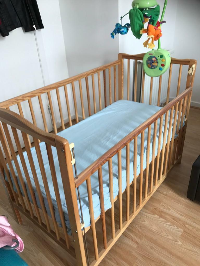 Baby Wood Cot Bed And Mattress And Musical Mobile In West End Glasgow Gumtree