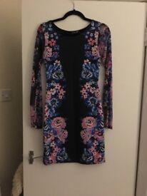 Black flower bodycon dress size 10