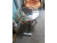 2 bamboo chairs with table