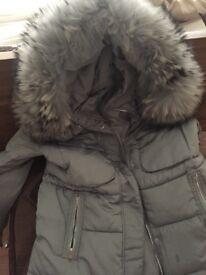 Ladies duck down coat with blue/grey fur hood