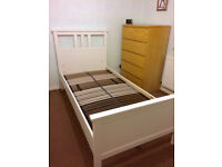 Ikea Hemnes single bed frame, white, with Leirsund bed base, excellent condition