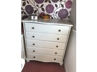 Chest of drawers, solid pine painted cream