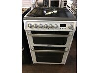 Hotpoint HUE61 60cm Double Electric Cooker in White & Silver #3449