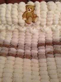 Baby's pram covers hand knitted in Pom Pom wool