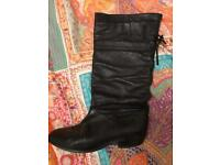 Office ladies black soft leather boots 37 UK 4