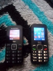 2 Alcatel basic Mobile Phones