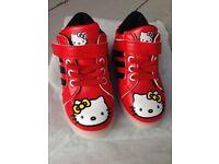 Hello Kitty Kids Trainers Size UK 6/EU 23. Brand New, Unworn, Vegan. Red with Velcro Fastening