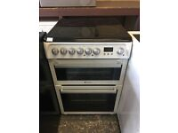 Hotpoint HUE61 60cm Double Electric Cooker in White with Black Hob #3210