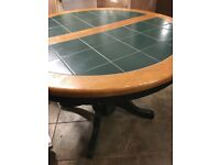Solid wood and tile table and chairs