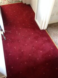 Vintage hall carpet red with subtle pattern, excellent condition