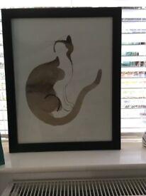 Watercolour picture of a cat in a black frame, Farnham, £5