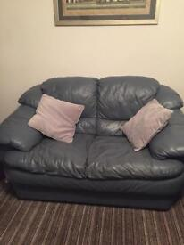 DFS Leather sofas (three, two seater and foot stool)